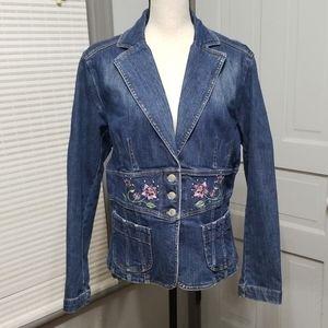 Jones Wear Jeans Embroidered Denim Jacket